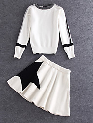Damen Druck Einfach / Niedlich Ausgehen T-shirt Rock Anzüge,Rundhalsausschnitt Frühling / Herbst Langarm Weiß Wolle / Polyester Mittel