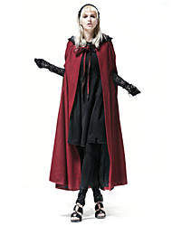 Y-547 Women's Vintage Solid Round NeckWinter Red Cloak