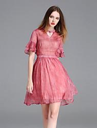 frmz Frauenarbeit einfach lose dresssolid Rundhalsausschnitt über Knie kurze Ärmel pink / lila
