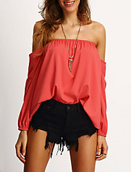 Women's Casual/Daily Sexy Fall ShirtSolid Off Shoulder Long Sleeve Red Polyester Medium