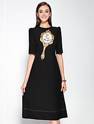 Boutique S  Women's  DressEmbroidered Round Neck Knee-length  Length Sleeve Black Polyester Mid Rise