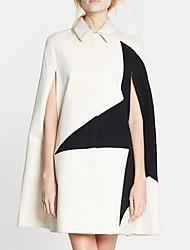 Women's Casual/Daily Simple Cloak/CapesColor Block Shirt Collar Sleeveless Winter Beige Cotton Medium