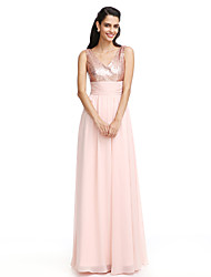 2017 Lanting Bride® Bridesmaid Dress - Sheath / Column V-neck Floor-length Chiffon/Sequined With Ruching