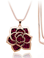 Women's Pendant Necklaces Alloy Rhinestone Silver Plated Simulated Diamond Rose Gold Plated Fashion Gift Boxes & BagsSilver Rose Rose
