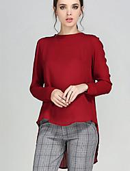 Mulheres Blusa Tamanhos Grandes Simples Outono,Sólido Vermelho Poliéster Decote Redondo Manga Longa Opaca