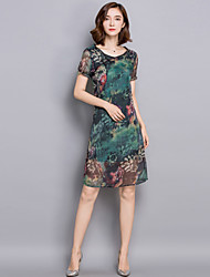 Women's Formal Chinoiserie Sheath Dress,Floral Round Neck Knee-length Short Sleeve Green Rayon Summer
