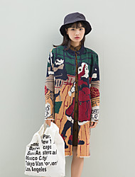 Women's Going out / Casual/Daily Vintage / Boho Long CardiganRainbow / Jacquard Multi-color