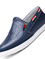Men's Loafers & Slip-Ons Comfort Cowhide / Leather Casual Flat Heel Jewelry Heel Black / Blue / Brown