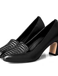Damen-High Heels-Kleid / Lässig-Leder-BlockabsatzSchwarz / Rot