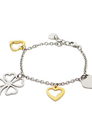 Fashion Four Leaf Clover Heart Shape Titanium Steel Charm Bracelets