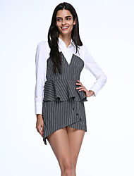Women's Simple Sheath Dress,Striped Shirt Collar Asymmetrical Long Sleeve Gray Cotton Spring