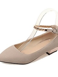 Women's Buckle Low-heels Imitated Suede Solid Pointed Closed Toe Pumps-Shoes