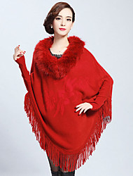 Women's Wrap Ponchos Faux Fur Black / Ink Blue / Khaki / Purple / Red Wedding / Party/Evening / Casual V-neck Tassels