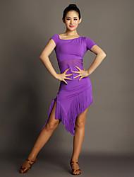 Dança Latina Vestidos Mulheres Actuação Viscose Borla(s) 1 Peça Manga Curta Natural Vestidos S:110cm M:111cm L:112cm XL:113cm XXL:114cm
