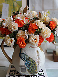1 1 Ramo Poliéster / Plástico Cravo Flor de Mesa Flores artificiais 12.5inch/32cm