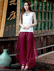 Our Story Women's Solid Red Loose PantsSophisticated Spring / Fall