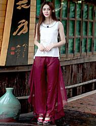 Pantalon Aux femmes Large Sophistiqué Polyester Elastique