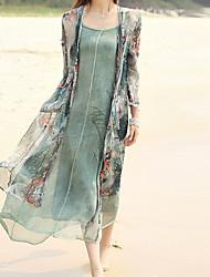 Ample Robe Aux femmes Sortie / Plage Chinoiserie,Imprimé Col en V Midi Manches Longues Vert Polyester Automne