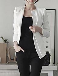 Women's Spring Blazer,Solid Long Sleeve White / Black Cotton Medium