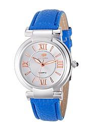 Ladies' Fashion Rome Number Blue Diamond Wrist Quartz Watch with Leather Strap