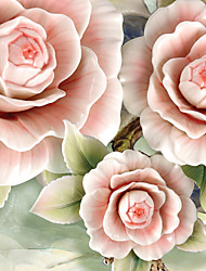 JAMMORY 3D Wallpaper Contemporary Wall Covering , Canvas Material Adhesive required Mural , Peony Flowers