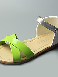 Fille-Décontracté-Vert / Rouge-Talon Plat-Bout Ouvert / Sandales-Sandales-Similicuir