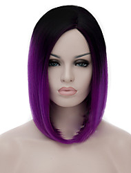 Cosplay Wigs Black Gradient Shallow Purple Wigs Points Bobo Short Wig 12 Inch