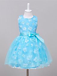 Ball Gown Knee-length Flower Girl Dress - Organza Satin Tulle Sleeveless Jewel with Pattern / Print Sash / Ribbon