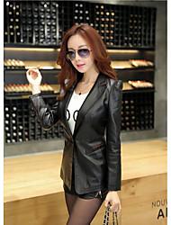 Women's Casual/Daily Simple Spring Leather JacketsSolid V Neck Long Sleeve Black PU Medium