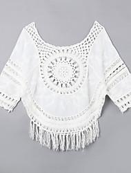 Damen Solide Niedlich Lässig/Alltäglich T-shirt,Rundhalsausschnitt Sommer Kurzarm Weiß Baumwolle Dünn