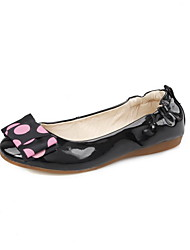 Women's Round Closed Toe Low-heels Patent Leather Polka-dots Pull-on Pumps-Shoes