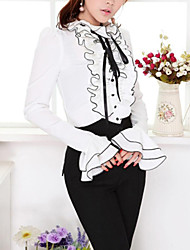 Women's Casual/Daily Simple Spring / Fall Shirt,Solid Ruff Collar Long Sleeve White Polyester Opaque / Thin