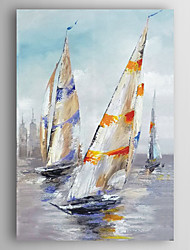 Decoration Boat in Sea Oil Painting Hand Painted Canvas Painting with Stretched Framed Ready to Hang