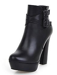 Feminino-Botas-Saltos / Plataforma / Botas Cano Curto / Arrendondado / Botas da Moda-Salto Grosso-Preto / Vermelho / Cinza-Courino-
