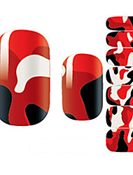 Fashion Charmming Red and White Striped Nail Decal Art Sticker Gel Polish Manicure Beautiful Girl