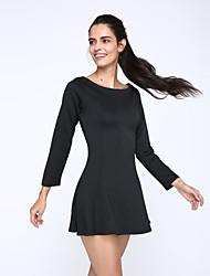 Damen Kleid - Swing / Skater Einfach Solide Mini Polyester Bateau