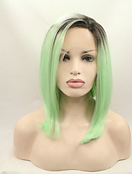 Synthetic Lace Front Wig Ombre Bob Wig Artificial Hair Beyonce Wig Black/Green Lace Front Wigs
