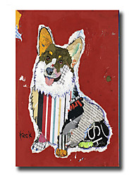 Modern Wall Art Oil Painting Abstract Cute Dog Pictures Hand Painted On Canvas With Stretched Frame