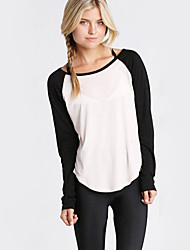 Tee-shirt Aux femmes,Mosaïque Décontracté / Quotidien simple Automne Manches Longues Col Arrondi Noir Coton Opaque