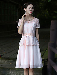 Our Story Going out Vintage Sheath DressEmbroidered Round Neck Knee-length Short Sleeve Pink Polyester Summer