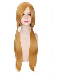 Fashion Yellow Color Straight Afro Women Cosplay Synthetic Wigs