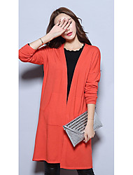 Women's Casual/Daily Simple Regular CardiganSolid Multi-color Asymmetrical Long Sleeve Others Medium Micro-elastic