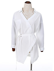 Women's Casual/Daily Simple ShirtSolid Shirt Collar Long Sleeve White Cotton Thin