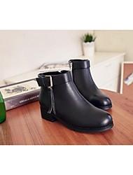 Черный-Женский-Для прогулок-Кожа-На низком каблуке-Военные ботинки-Ботинки