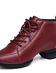 Women's Dance Shoes Sneakers Breathable Leather Cotton-padded Low Heel Black/Red