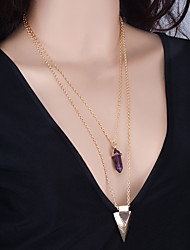 Women Fashion Simple Geometric Multi-Element Crystal Pendant Necklace For Women 1pc