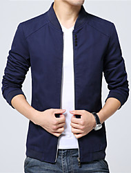 Men's Long Sleeve Casual / Work Jacket Coat Cotton / Polyester Solid Outerwear Black / Blue / Red / Beige
