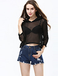 Damen Solide Sexy / Einfach Ausgehen / Lässig/Alltäglich T-shirt,Mit Kapuze Alle Saisons ¾-Arm Rosa / Schwarz Polyester Dünn