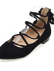 Women's Flats Spring / Summer / Fall Flats Fleece Wedding / Party & Evening / Dress / Casual Flat Heel Lace-up Black