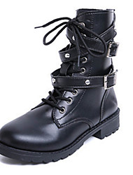Women's Boots Fall / Winter Fashion Boots / Motorcycle Boots Leather Outdoor / Office & Career Low Heel Rivet